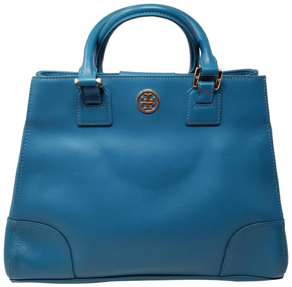 60f9a64a3c7 Tory Burch Gold Hardware Miller Reva Robinson Silver Hardware Satchel in  Blue Image 0 ...