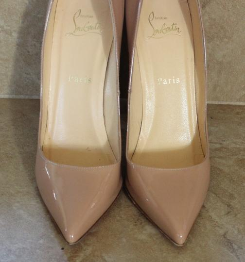 Christian Louboutin Nude Patent Leather Stiletto Pigalle Beige Pumps