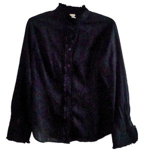 Merona Ruffle Cotton Textured Button Down Shirt black