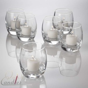 Quick Candles Clear/White Grande Hurricane Votive Holders Ceremony Decoration