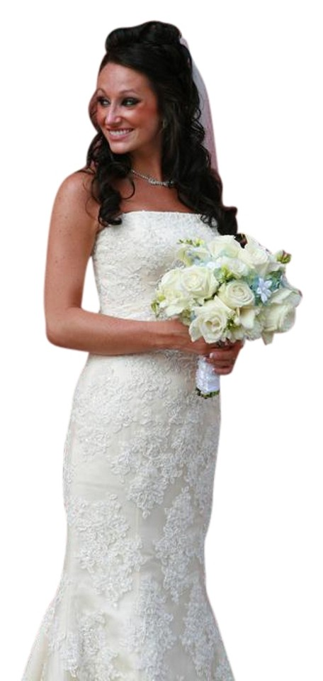 Maggie Sottero Ivory Satin With Lace Overlay Phillipa Wedding Dress Size 6 S