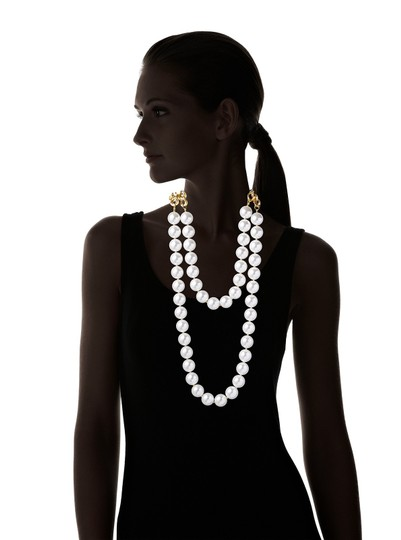 Kenneth Jay Lane Kenneth Jay Lane 60-inch Gold Link White Pearl Necklace