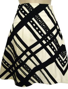 V Christina A-line Summer Ribbon Trim Skirt Black & White