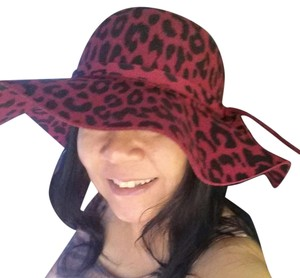 GORGEOUS RED LEOPARD PRINT WOOL HAT WITH WIDE BRIM 22