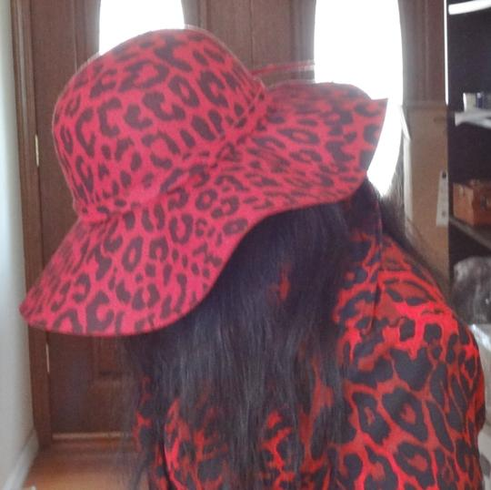 """Other GORGEOUS RED LEOPARD PRINT WOOL HAT WITH WIDE BRIM 22"""""""