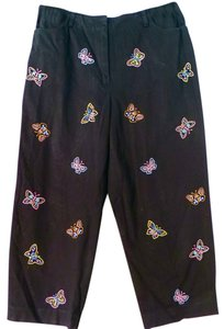 Talbots Stretch Butterflies Embroidered Capris black
