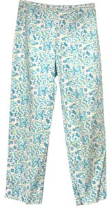 Lord & Taylor Flowers Teal Petite Stretch Capris BLUE/GREEN