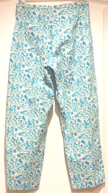 Lord & Taylor Floral Flowers Teal Petite Stretch Capris BLUE/GREEN