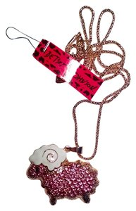 Betsey Johnson Betsey Johnson Sheep Pendant Necklace Gold Pink J994