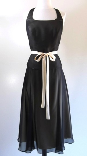 Alfred Angelo Black / Butter Chiffon / Satin Style Casual Bridesmaid/Mob Dress Size 8 (M)