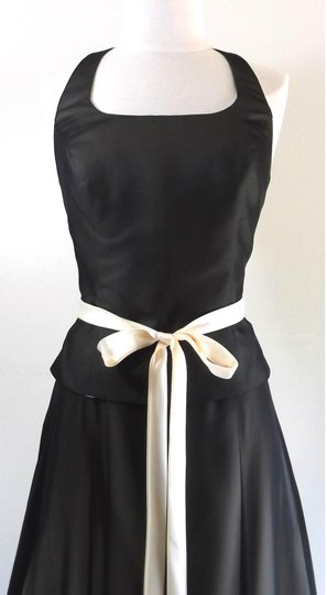Alfred Angelo Black / Butter Chiffon / Satin Style Casual Bridesmaid/Mob Dress Size 8 (M) Image 1