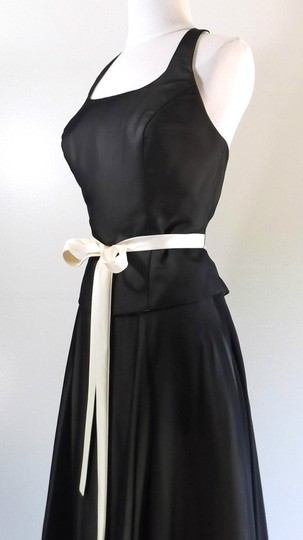 Alfred Angelo Black / Butter Chiffon / Satin Style Casual Bridesmaid/Mob Dress Size 8 (M) Image 5