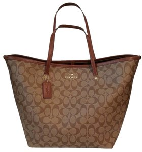 Coach Large Brown Canvas Tote in Khaki/Saddle