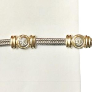 Macy's Two Tones 14k Gold Diamonds Flexible Link Bracelet