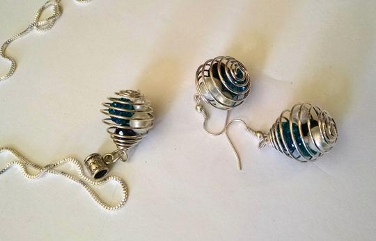 Other New Handmade Necklace Earrings Set Blue 24 in. 925 Silver Chain J1000