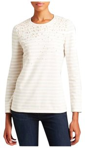 Tory Burch Pearl Dressy Top Sandshell/White