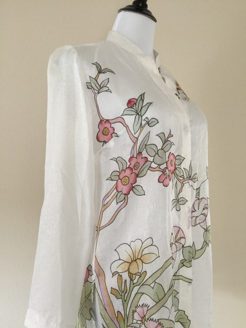 Citron Silk Floral Button Down Shirt