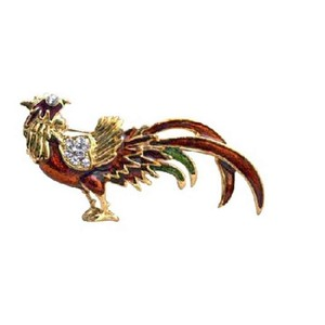 Golden/Red Stunning Animal Rooster Gold Plated with Cubic Zircon Brooch/Pin