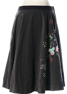 Free People Embroidered Corduroy Skirt Black