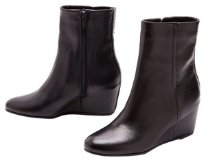Vince Leather Round Toe Wedge Black Boots