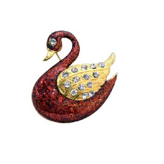 Gold/Red Plated Duck Animal with Wings Decorated Cz Brooch/Pin
