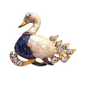 Gold Plated Colorful Duckling Decorated Cubic Zircon Duck Brooch Pin