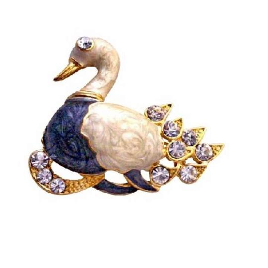 Ivory/Blue Gold Plated Colorful Duckling Decorated Cubic Zircon Duck Brooch/Pin