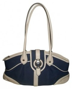 Etienne Aigner Satchel in blue with white leather trim