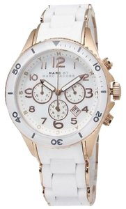 Marc by Marc Jacobs Marc by Marc Jacobs Watch, Women's Chronograph Rock White Silicone-Wrapped Rose Gold Ion-Plated Stainless Steel Bracelet 40mm MBM2547