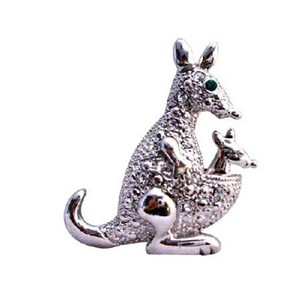 Silver Casting Fully Embedded With Cubic Zircon Kangaroo Animal Brooch