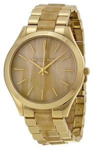 Michael Kors Michael Kors Women's Runway Horn and Gold-Tone Stainless Steel Bracelet Watch 42mm MK4285
