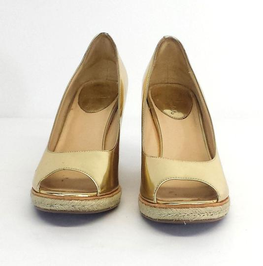 Cole Haan Gold Patent Leather Peep Toe Wedges