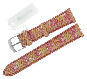 Michele Authentic MICHELE 16mm Yellow Multi Leather Watch Band
