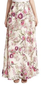 Haute Hippie Floral Print Maxi Skirt Ivory