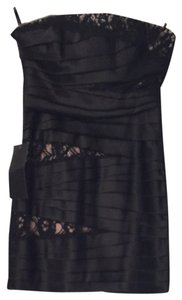 bebe Cocktail Lace Silk Strapless Dress