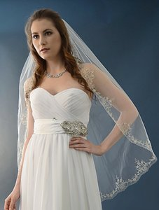 Ansonia Bridal Ivory Beautifully Beaded Fingertip Wedding Veil