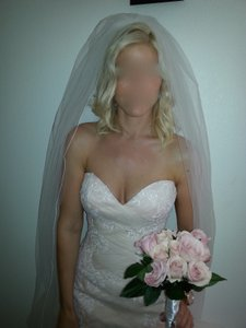 Maggie Sottero Blush with White Lace Overlay Satin and Tule Haven Sexy Wedding Dress Size 4 (S)