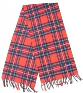 Burberry Burberry Red Plaid Wool Scarf