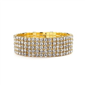 Mariell 5-row Stretch Gold Rhinestone Bracelet 1009b-g