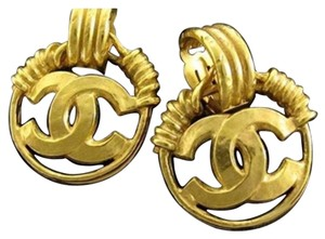 Chanel Chanel Gold CC Dangle Drop Hoop Logo Earrings CCAV325