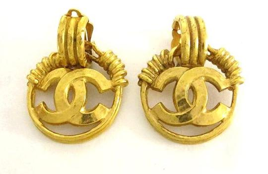 Chanel [ENTERPRISE] Chanel Gold CC Dangle Drop Hoop Logo Earrings CCAV325