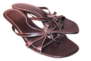 Tod's Kitten Heel Thong Flip Flops Brown Sandals