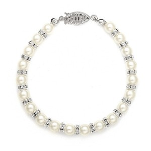Mariell Alternating Pearl And Rondelle Wedding Bracelet 189b-i-s