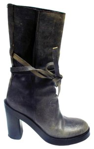 Ann Demeulemeester Leather Heels Bow Gray Boots