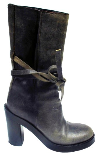 Ann Demeulemeester Leather Bow Gray Boots