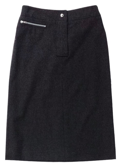 Céline Wool Pencil Skirt Charcoal