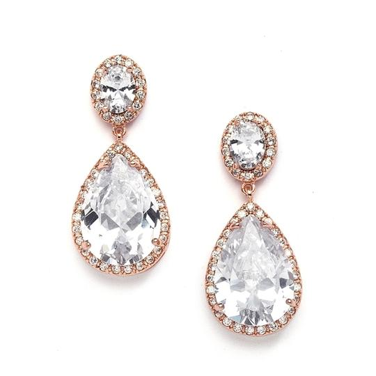 Mariell Rose Gold Cubic Zirconia Pear-shaped with Clip Back 2074ec-rg Earrings