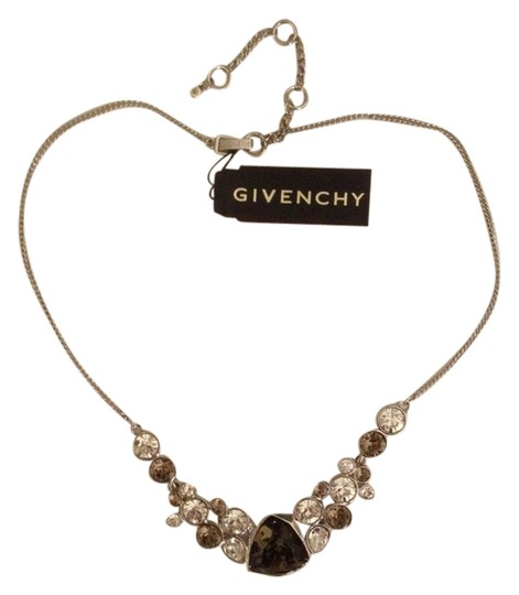 Givenchy Silver tone Crystal Glass Necklace