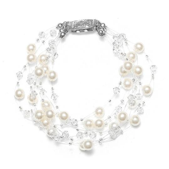 Mariell Lavish 6-row Pearl & Crystal Bridal Illusion Bracelet 2101b-i-cr-s