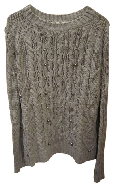 Relativity Gunmetal Stud Cable Washable Sweater